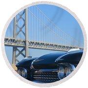 Black Cadillac In San Francisco Round Beach Towel