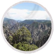 Black Canyon Of The Gunnison Panorama Round Beach Towel