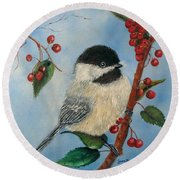 Black Capped Chickadee And Winterberries Round Beach Towel