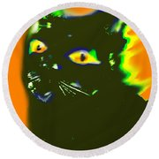 Black Cat 3 Round Beach Towel