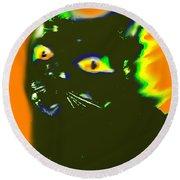 Black Cat 3 Round Beach Towel