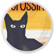 Black Cat Crossing Round Beach Towel by Linda Woods