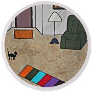 Essence Of Home - Black Cat In Living Room Round Beach Towel