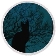 Black Cat In The Moonlight Blue Round Beach Towel