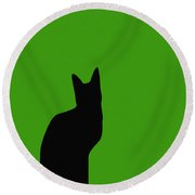 Black Cat On Lime Green Background Round Beach Towel