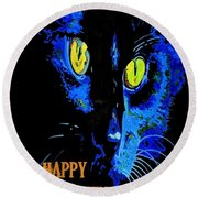Black Cat Portrait With Happy Halloween Greeting  Round Beach Towel