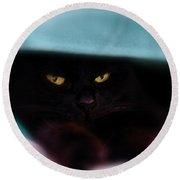 Black Cat Secrets Round Beach Towel