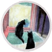 Black Cats Round Beach Towel