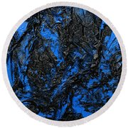 Black Cracks With Blue Round Beach Towel