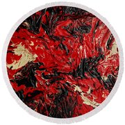 Black Cracks With Red Round Beach Towel