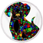 Black Dog 2 Round Beach Towel