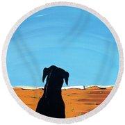 Black Dog In Chestertown, 1998 Round Beach Towel