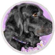 Black Dog Pretty In Lavender Round Beach Towel