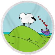 Black Faced Sheep 20150206 Round Beach Towel