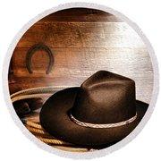 Black Felt Cowboy Hat Round Beach Towel