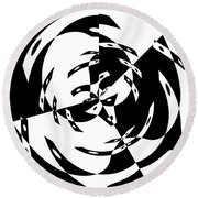 Black Gravity Round Beach Towel