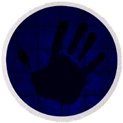 Black Hand Blue Round Beach Towel