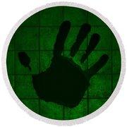 Black Hand Green Round Beach Towel