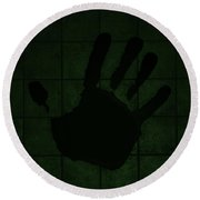 Black Hand Olive Green Round Beach Towel