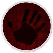 Black Hand Red Round Beach Towel
