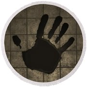 Black Hand Sepia Round Beach Towel