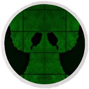 Black Hands Green Round Beach Towel