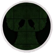 Black Hands Olive Green Round Beach Towel