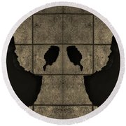 Black Hands Sepia Round Beach Towel
