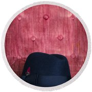 Black Hat On Red Velvet Chair Round Beach Towel by Edward Fielding