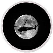 Black Hawk Moon Vertical Round Beach Towel