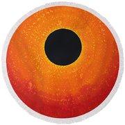 Black Hole Sun Original Painting Round Beach Towel