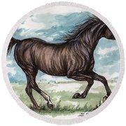 Black Horse Running Round Beach Towel