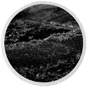 Black Ice Abstract Round Beach Towel