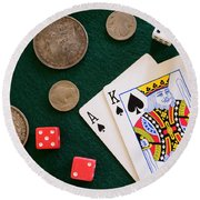 Black Jack And Silver Dollars Round Beach Towel