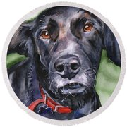 Black Lab In Watercolor Round Beach Towel