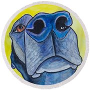 Black Lab Nose Round Beach Towel by Roger Wedegis