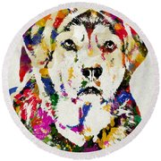 Black Lab Watercolor Art Round Beach Towel
