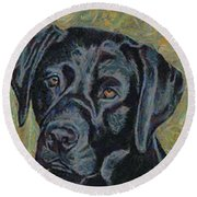 Black Labrador Round Beach Towel