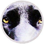 Black Labrador Retriever Dog Art - Lab Eyes Round Beach Towel by Sharon Cummings