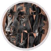 Black Labrador Typography Artwork Round Beach Towel