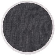 Black Linen Texture Round Beach Towel