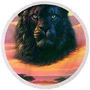 Black Lion Round Beach Towel
