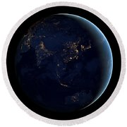 Black Marble - Asia And Australia City Lights Round Beach Towel