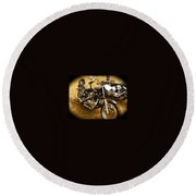 Black Motorcycle  Round Beach Towel
