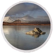 Black Mount And Lochan Na H-achlaise Round Beach Towel
