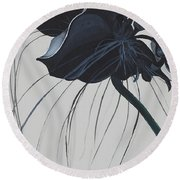 Black Orchid Round Beach Towel