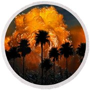 Black Palms At Dusk Round Beach Towel