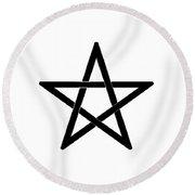 Black Pentagram Round Beach Towel