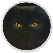 Black Persian Round Beach Towel