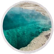 Black Pool In West Thumb Geyser Basin Round Beach Towel